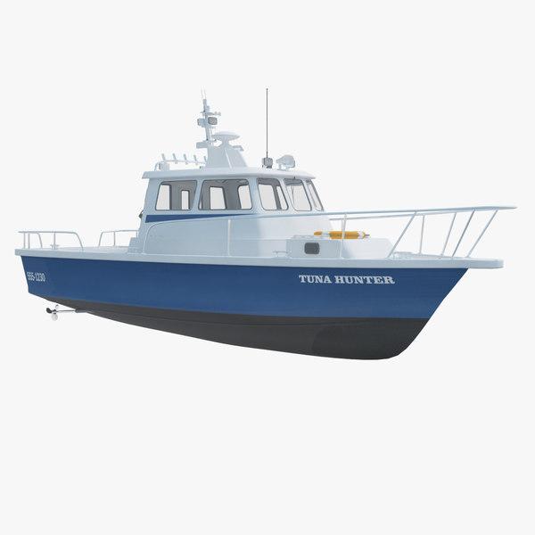 3d model sea fishing motor boat