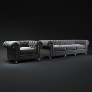 3d model kensington-upholstered-sofa