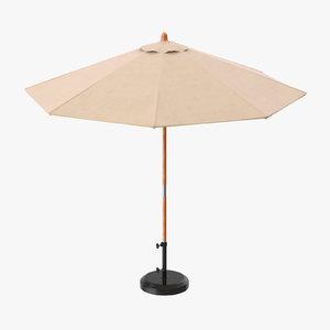 opened patio umbrella 3d model