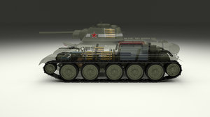 soviet t-34 interior engine 3d obj