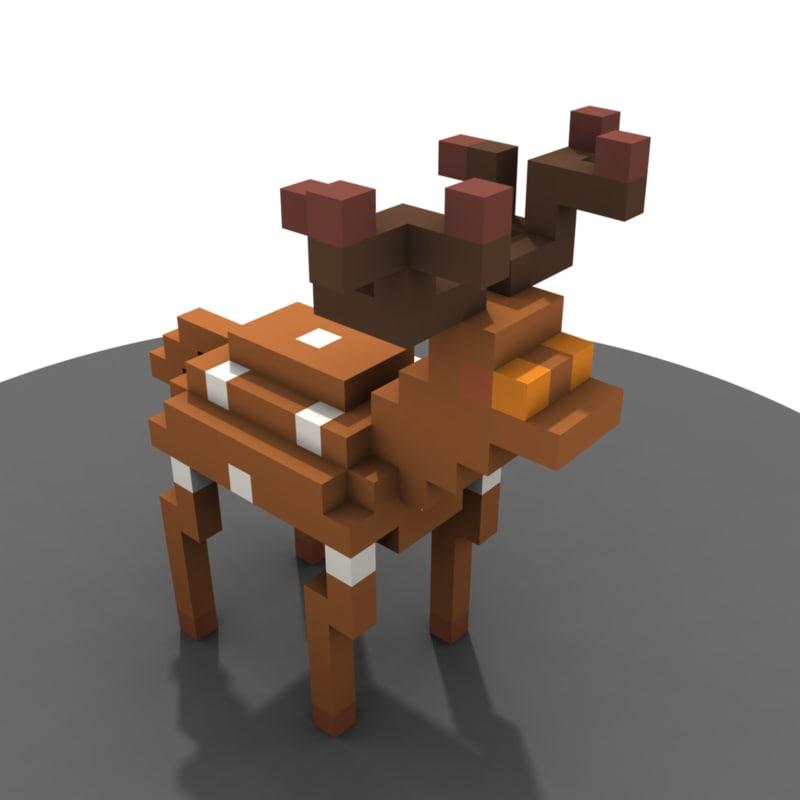 3d deer voxel