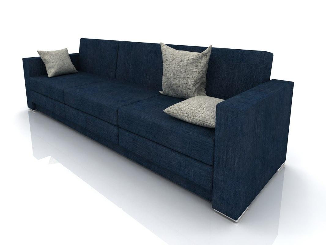 3d model dark blue sofa minimalism