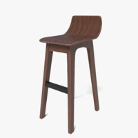3d modern ava walnut bar stool