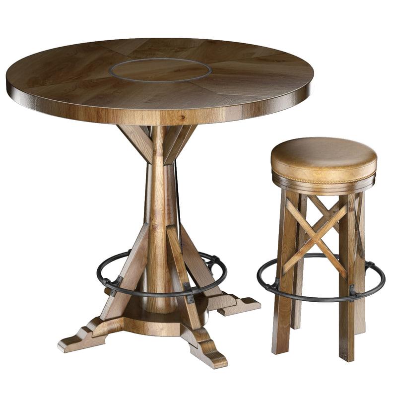 huntingdon table bar stool 3d max