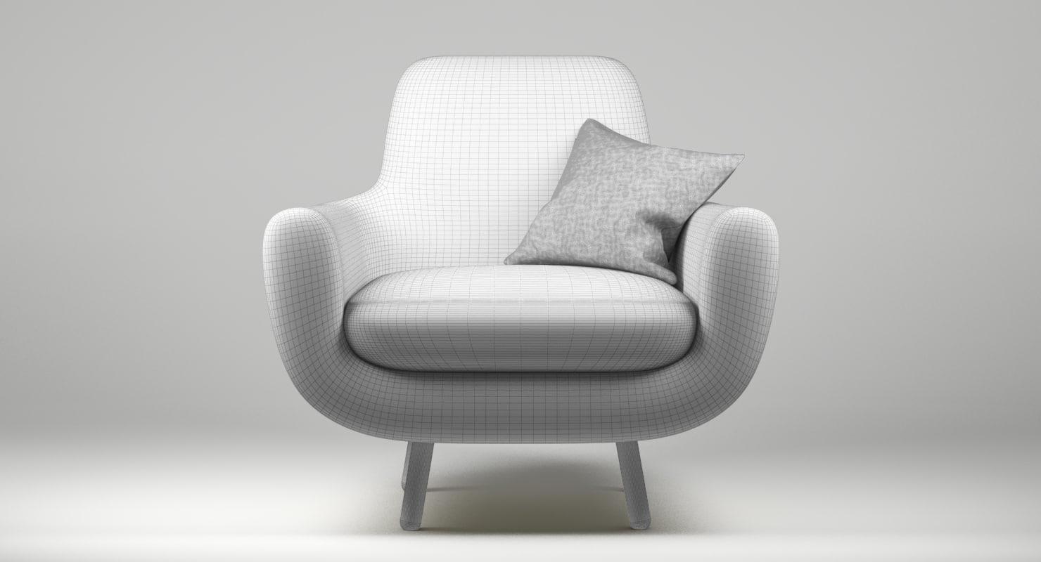 obj armchair jonah yellow pillow