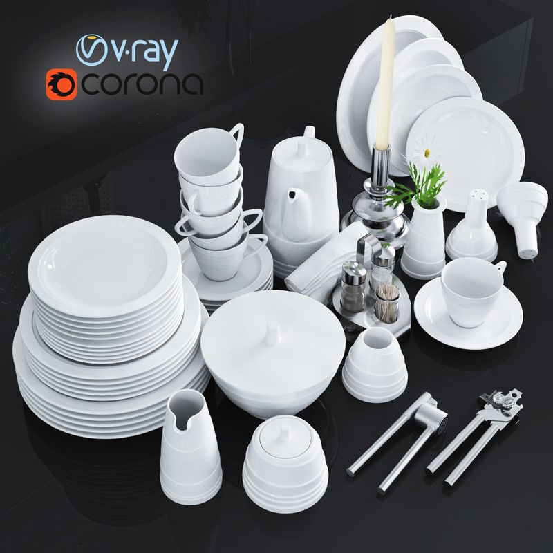kitchen set dishes 3d max