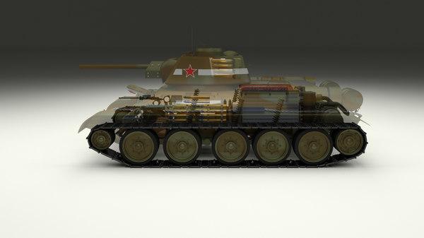soviet t-34 76 interior 3d obj
