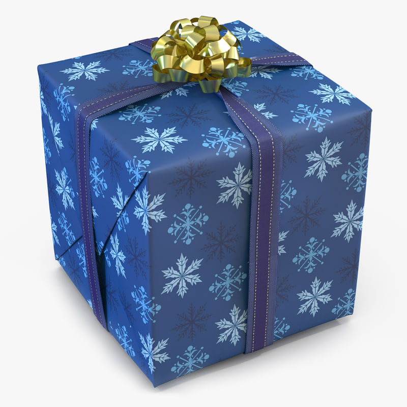 3d giftbox 2 blue model