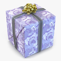 giftbox 2 silver 3d model