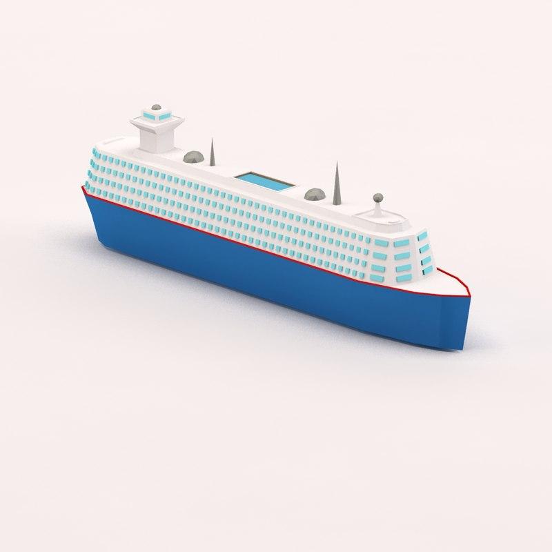 3d model cartoon cruise ship