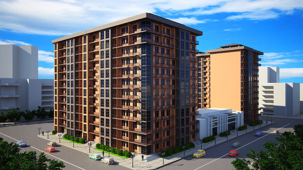 3d model block residential building corner