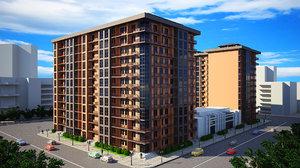 3d model block residential building corner