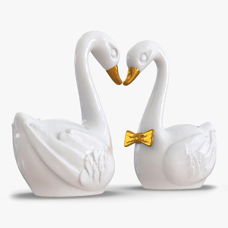 swans wedding cake topper max