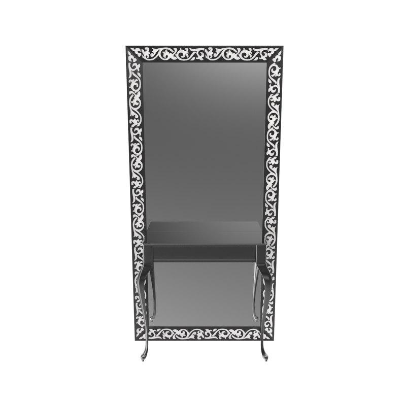 photorealistic hair salon mirror 3ds