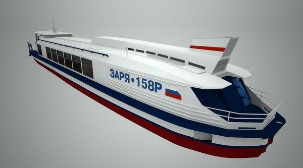 passenger river ship 3d model