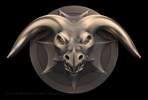 3d model sculpture head dragon