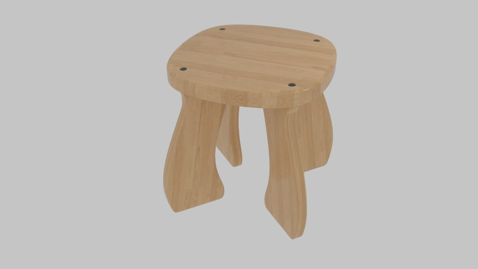 wooden stool 3ds