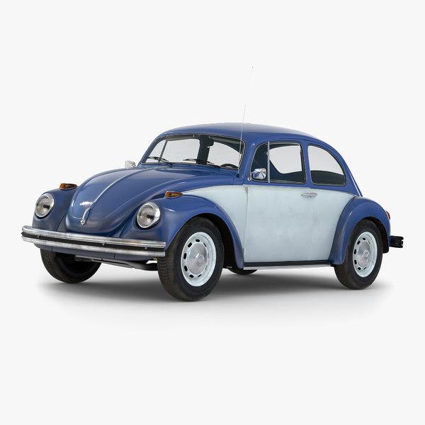 3d model volkswagen beetle 1966 blue