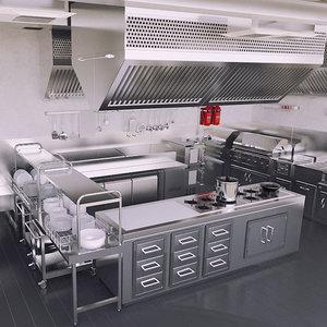 3d commercial kitchen model
