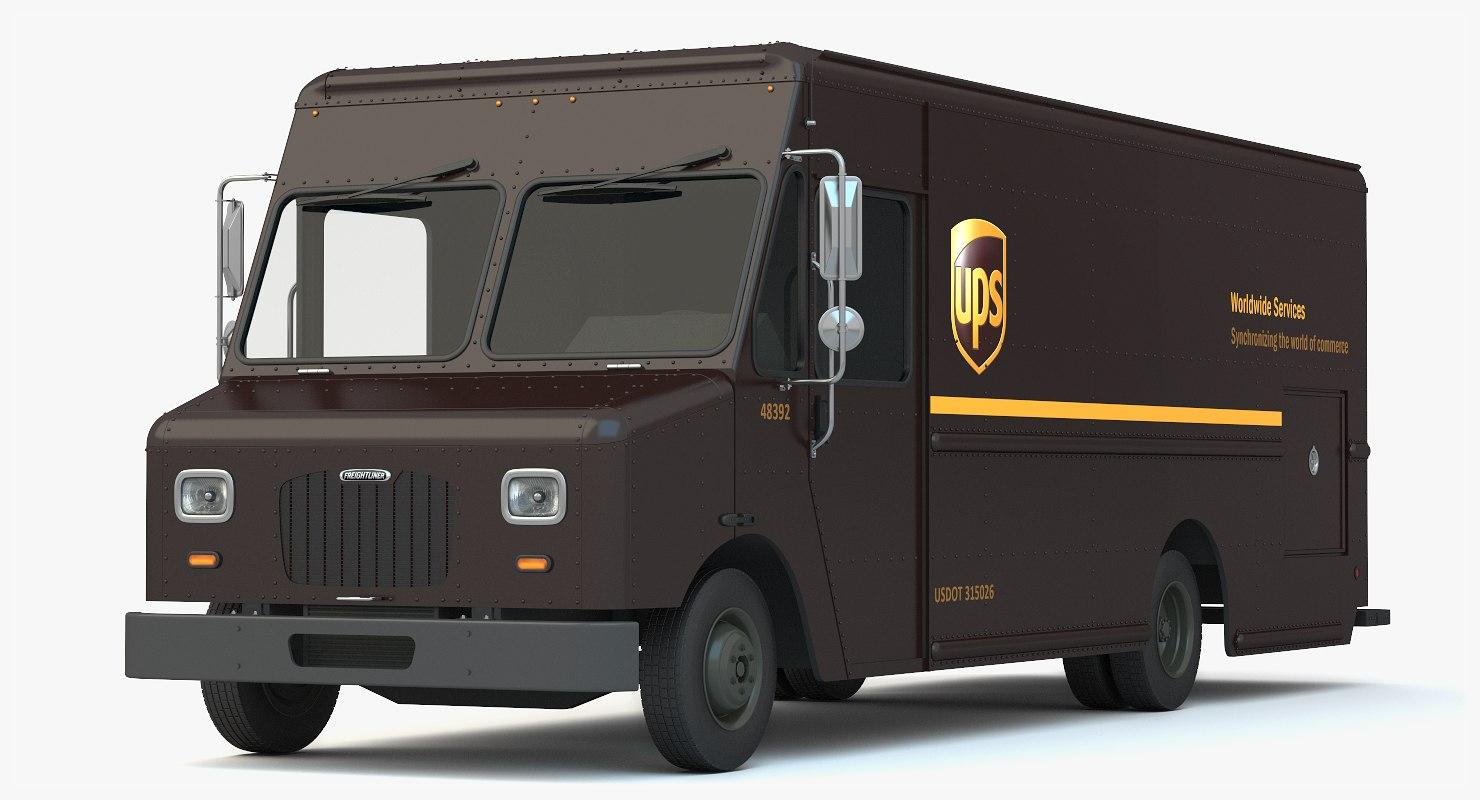 3d ups delivery truck van model