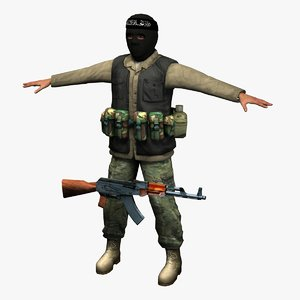 isis insurgent fighter 3d model