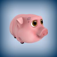 cartoon pig toon 3d model