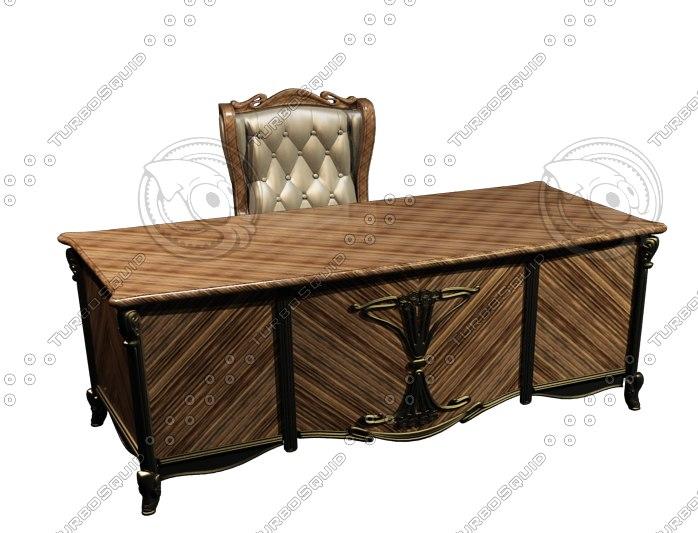 classic office desk chair 3d model