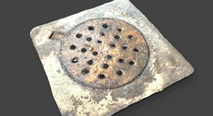 3d model rusted drain cover