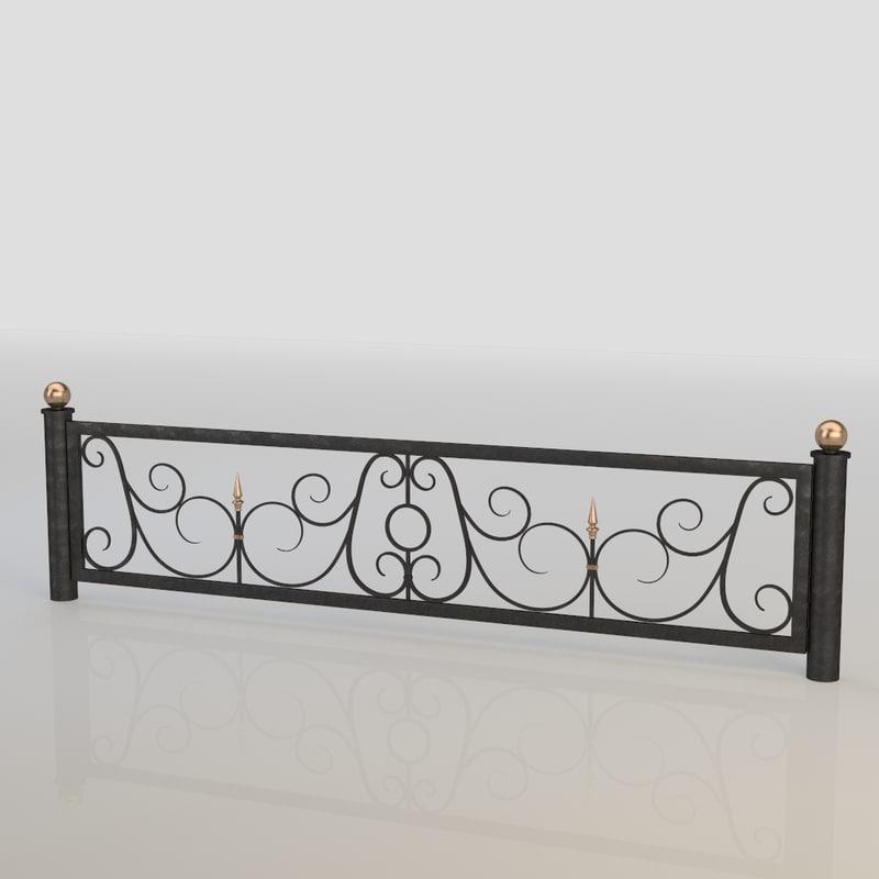 iron fence 3d obj