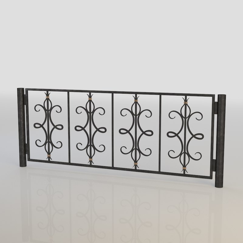 3d iron fence model