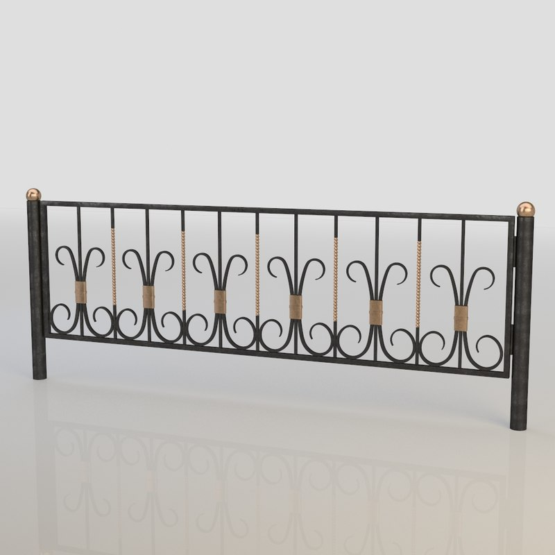 iron fence 3d max