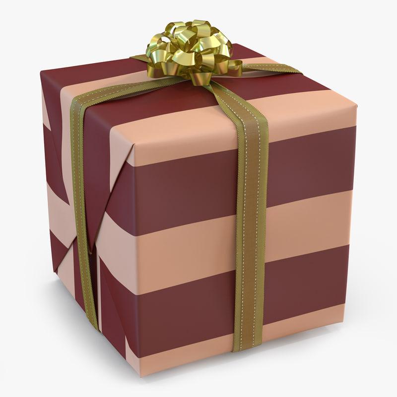 3d model giftbox 2 gold