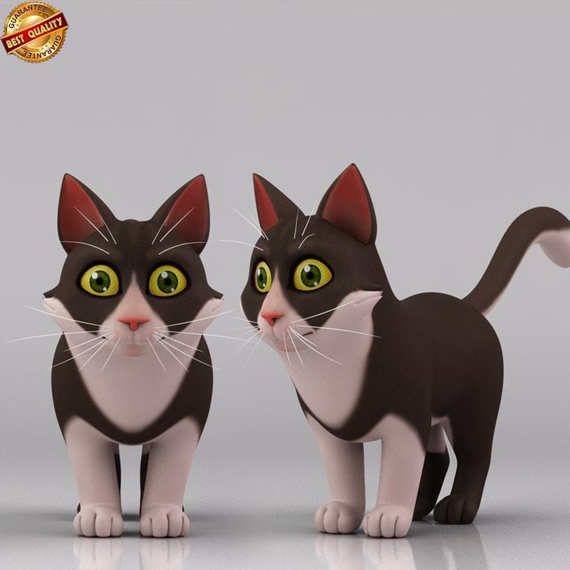 3d model cartoon cat toon