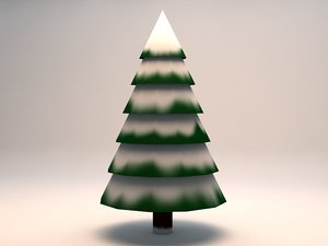 3d model large snowy pine tree