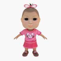cute baby girl pink 3d model