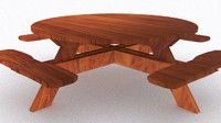 picnic wood table 3d model