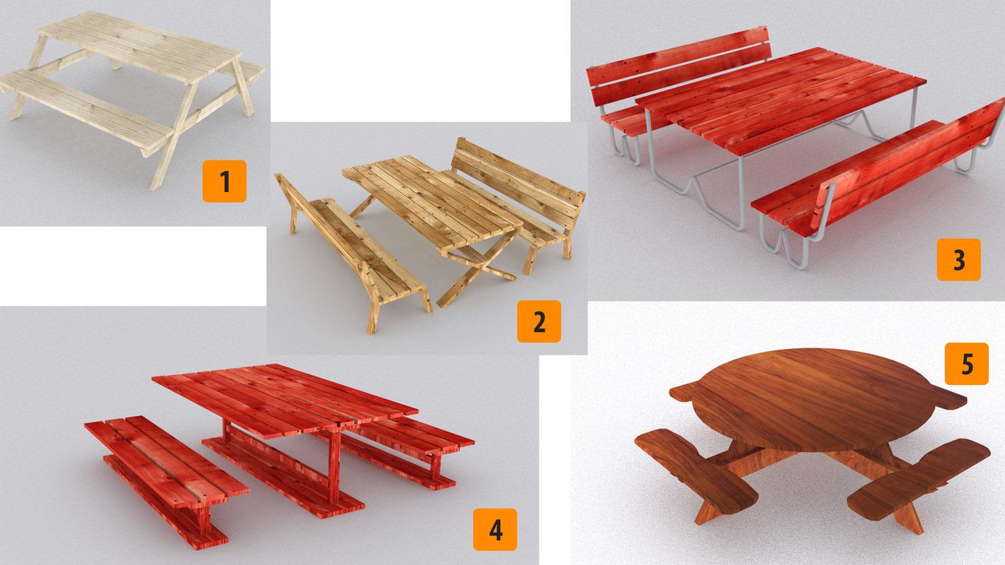 picnic wood table 3d model