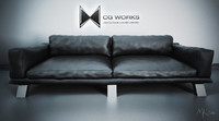 3d photorealistic leather couch