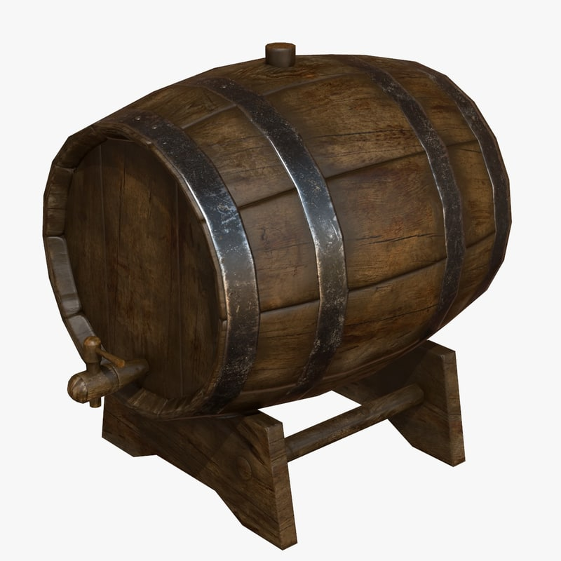 wooden barrel 3d max
