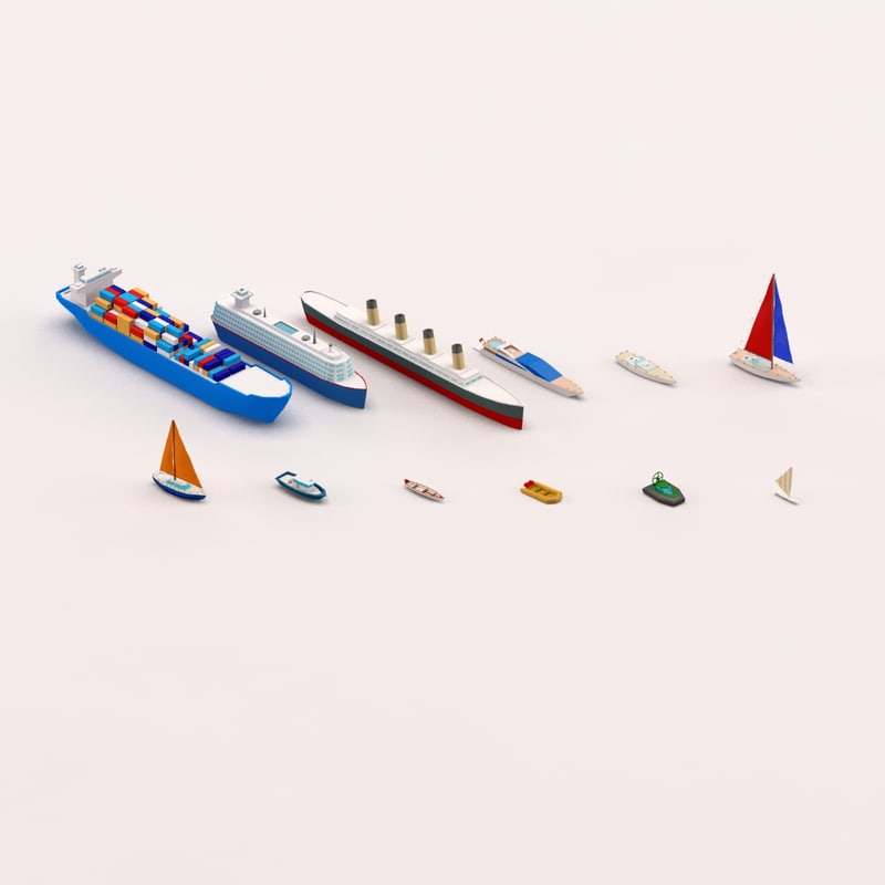 3d max cartoon ships boats pack
