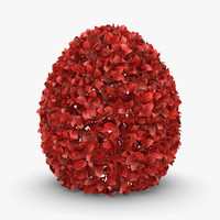 3d realistic hedge 02 red