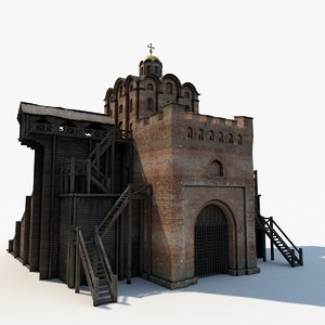 3d gate fortress fort model