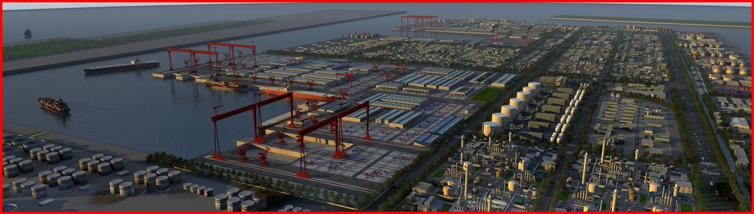 port harbour refinery 3d max