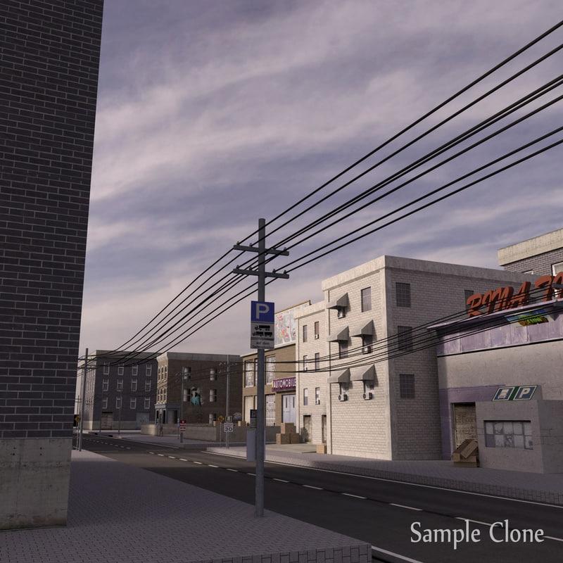 3d model city block