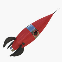 retro rocket space 3d model