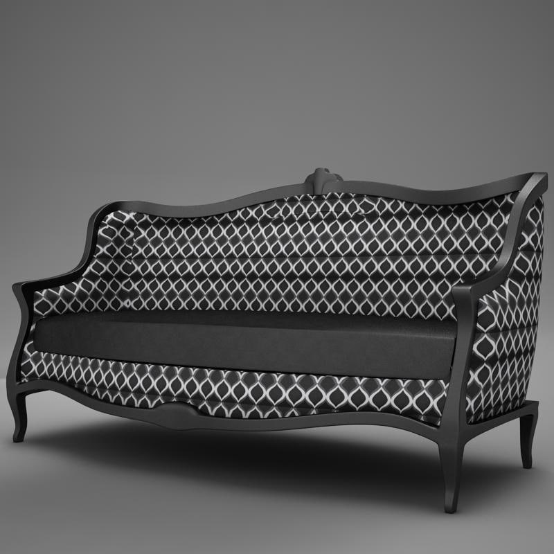 3d old modern club sofa
