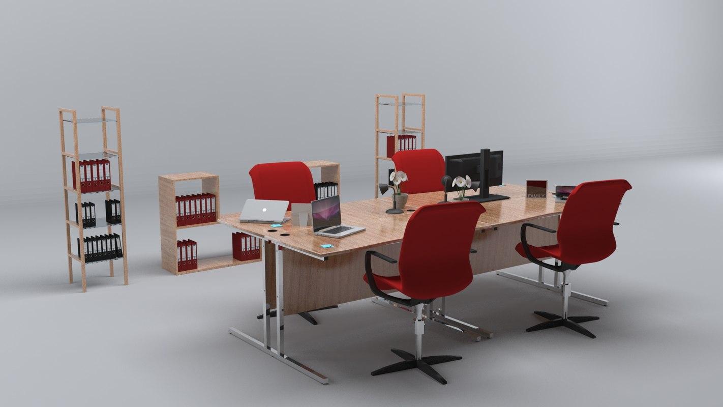 modern office 3d 3ds