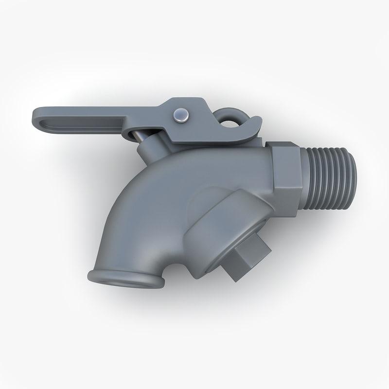 3d model vintage self closing valve