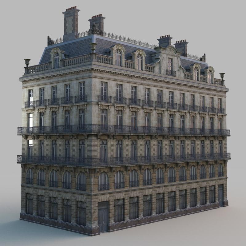 3d european building architectural model