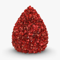 realistic hedge 03 red 3d max